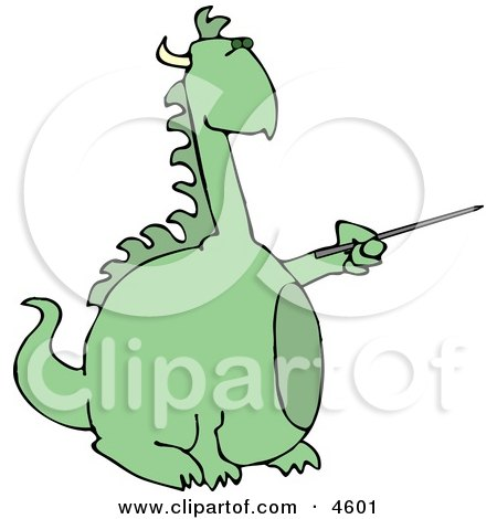 Anthropomorphic Reptilian Dragon Pointing a Pointer Posters, Art Prints