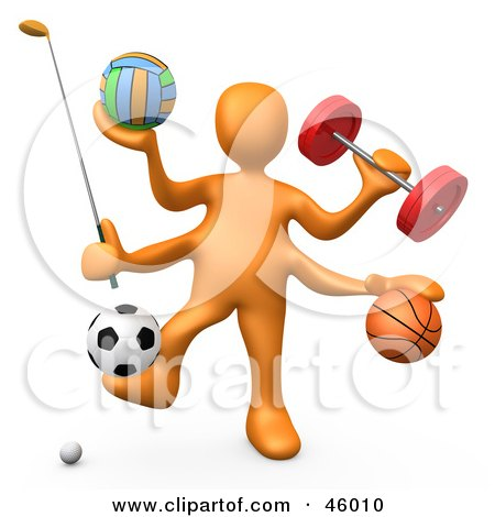 Royalty-Free (RF) Clipart Illustration of a 3d Orange Athlete Weight Lifting And Playing Golf, Volleyball, Basket Ball And Soccer by 3poD