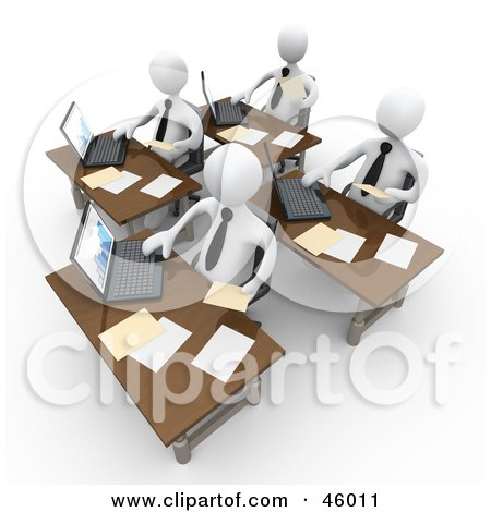 Royalty-Free (RF) Clipart Illustration of a Busy Team Of White People Compiling Financial Data by 3poD