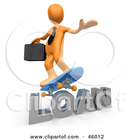 Royalty-Free (RF) Clipart Illustration of a 3d Orange Businessman Skateboarding On A Loan by 3poD
