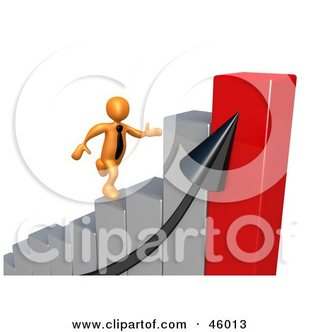 Royalty-Free (RF) Clipart Illustration of a 3d Orange Businessman Rushing To The Top Of A Bar Graph by 3poD