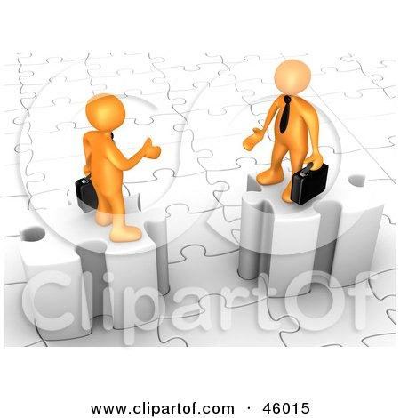 Royalty-Free (RF) Clipart Illustration of a Two 3d Orange Businessmen On Puzzle Pieces, Reaching Out To Shake Hands by 3poD