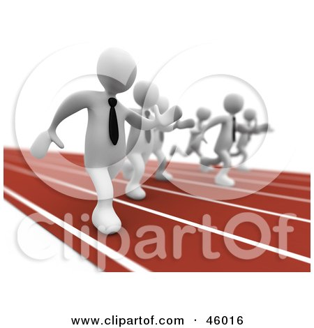 Royalty-Free (RF) Clipart Illustration of a Race Between White 3d Businessmen In Hunt For A Job by 3poD