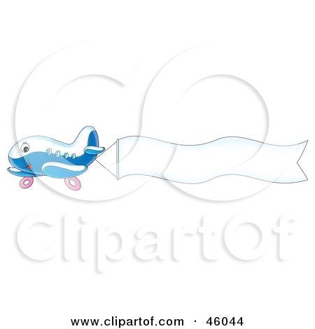 Royalty-Free (RF) Clipart Illustration of a Cute Plane Flying A Blank Waving Banne by Alex Bannykh