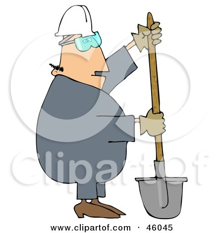 Royalty-Free (RF) Clipart Illustration of a Construction Worker Guy Digging With a Shovel by djart