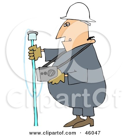 Royalty-Free (RF) Clipart Illustration of a Gas Worker Guy Carrying A Detector by djart