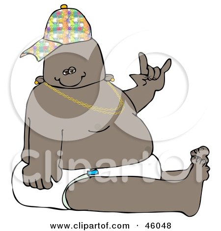 Royalty-Free (RF) Clipart Illustration of a Hip Hop Or Gangster Baby Wearing A Hat And Diaper And Gesturing by djart