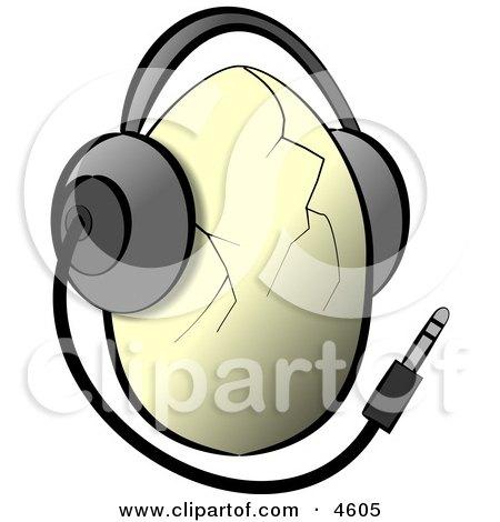 Egg Wearing Music Headphones Posters, Art Prints
