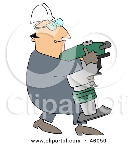 Royalty-Free (RF) Clipart Illustration of a Construction Worker Guy Carrying A Jumping Jack Compactor by djart