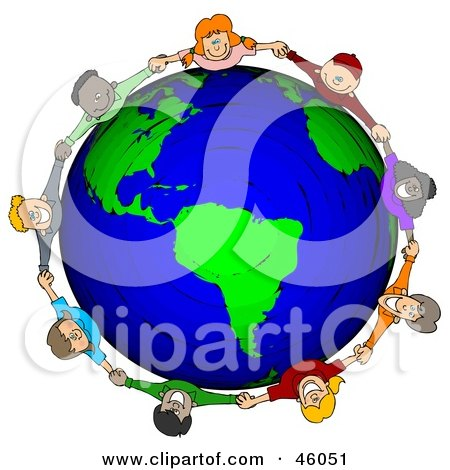 Royalty-Free (RF) Clipart Illustration of a Circle Of Worldwide Children Holding Hands Around A Globe by djart