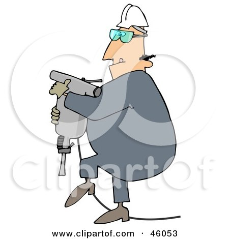 Royalty-Free (RF) Clipart Illustration of a Construction Worker Guy Carrying A Jackhammer by djart