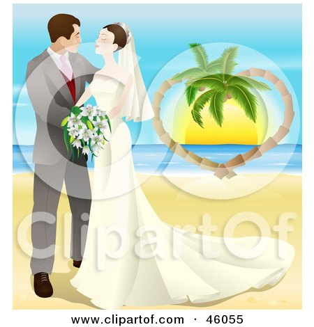 Royalty-Free (RF) Clipart Illustration of a Romantic Newlywed Couple Gazing And Standing On A Tropical Beach by AtStockIllustration