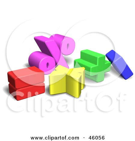 Royalty-Free (RF) Clipart Illustration of Colorful 3d Mathematics Symbols by AtStockIllustration