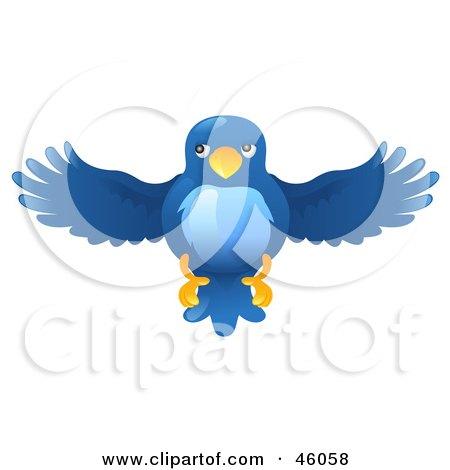 Royalty-Free (RF) Clipart Illustration of a Blue Bird Flying Forward by AtStockIllustration