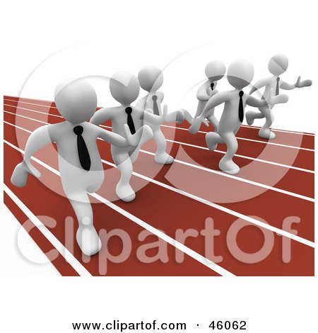 Royalty-Free (RF) Clipart Illustration of Racing White 3d Businessmen On A Track by 3poD