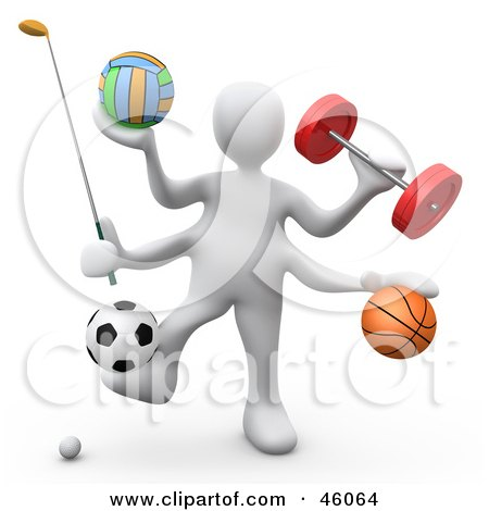 Royalty-Free (RF) Clipart Illustration of a 3d White Athlete Weight Lifting And Playing Golf, Volleyball, Basket Ball And Soccer by 3poD