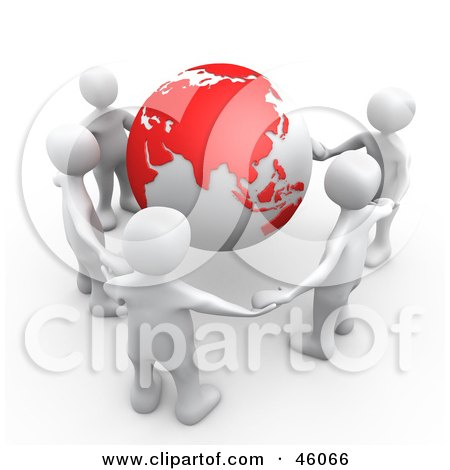 Royalty-Free (RF) Clipart Illustration of a Group Of Five White People Holding Hands Around A Globe With Asia Featured by 3poD