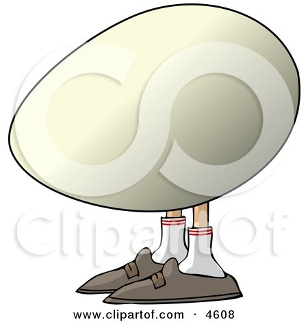 Concept of an Egg with Human Legs and Feet Clipart by djart