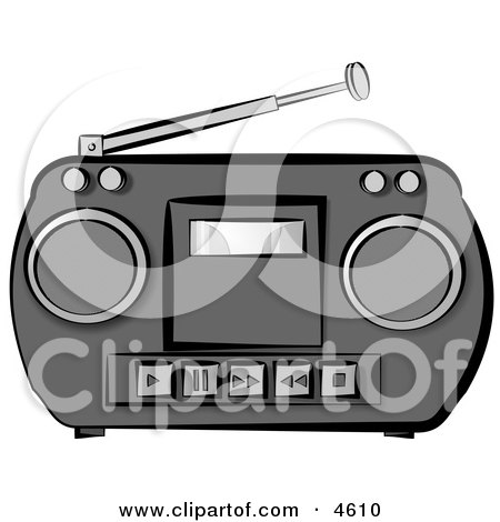 Old Potable Boombox Stereo System Clipart by djart