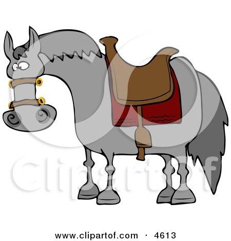 Saddled Horse Waiting for Horseback Rider Clipart by djart