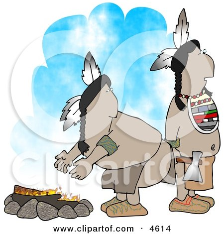 Two Native American Indians Standing Alertly Beside a Campfire Posters, Art Prints