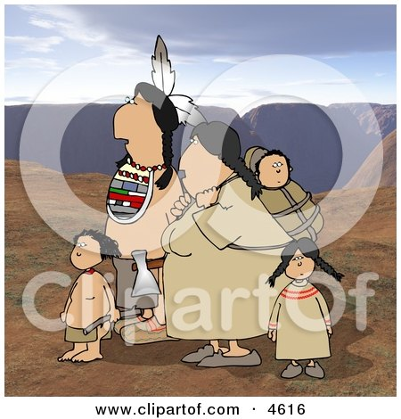 Indian Family Traveling Together On Rocky Mountainous Terrain Posters, Art Prints