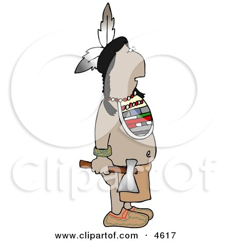 Indian Standing with a Hatchet In His Hand Posters, Art Prints