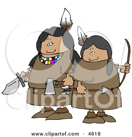 Two Female Indian Warriors Holding a Knife, Hatchet, and Bow an Arrow Clipart by djart