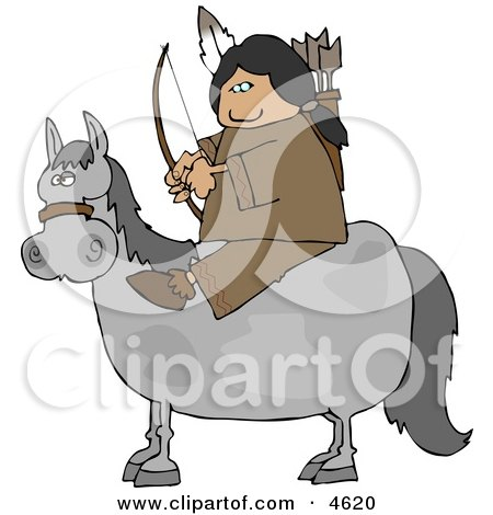 Male Indian Sitting On a Horse with Bow an Arrow Posters, Art Prints