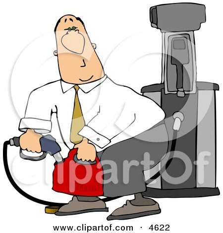 White Businessman Pumping Gasoline Into a Gas Can Clipart by djart
