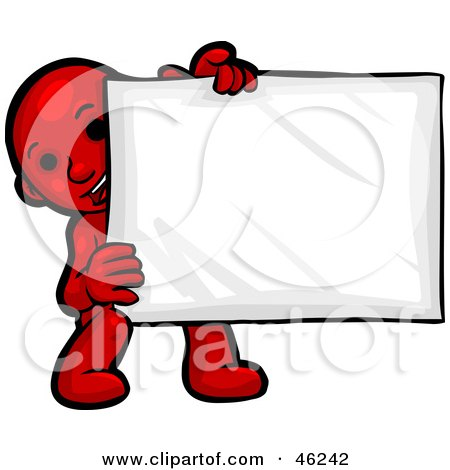 Royalty-Free (RF) Clipart Illustration of a Red Smartoon Character Crouching And Holding A Blank Sign by Tonis Pan