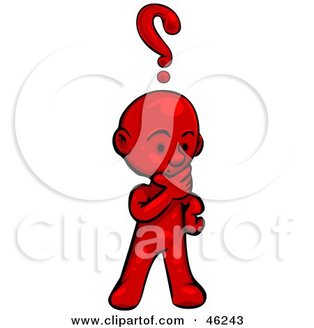 Royalty-Free (RF) Clipart Illustration of a Red Smartoon Character Rubbing His Chin And Pondering by Tonis Pan