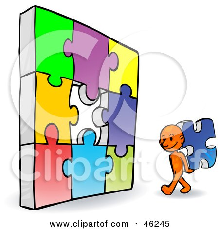 Royalty-Free (RF) Clipart Illustration of an Orange Smartoon Character Completing A Jigzaw Puzzle by Tonis Pan