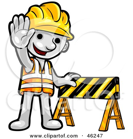 White Smartoon Character Construction Worker Posters, Art Prints