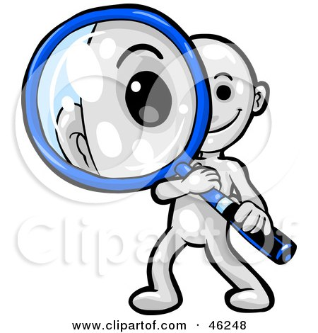 Royalty-Free (RF) Clipart Illustration of a White Smartoon Character Peering Through A Magnifying Glass by Tonis Pan