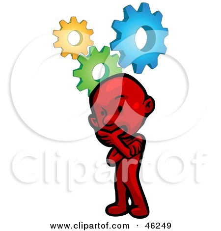 Royalty-Free (RF) Clipart Illustration of a Red Smartoon Character Thinking Hard To Solve A Problem by Tonis Pan