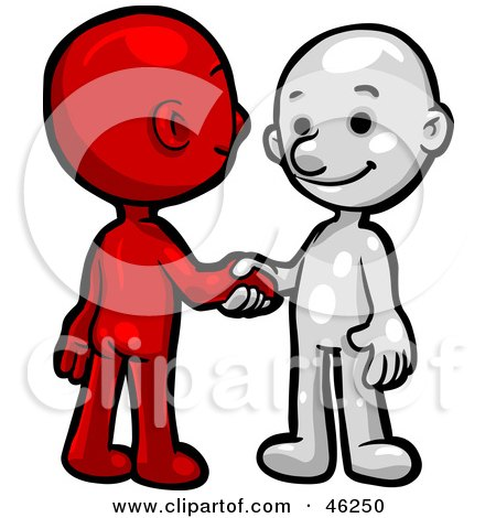 Royalty-Free (RF) Clipart Illustration of Red And White Smartoon Characters Shaking Hands by Tonis Pan