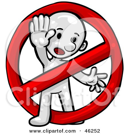 Royalty-Free (RF) Clipart Illustration of a White Smartoon Character In A Prohibited Sign by Tonis Pan