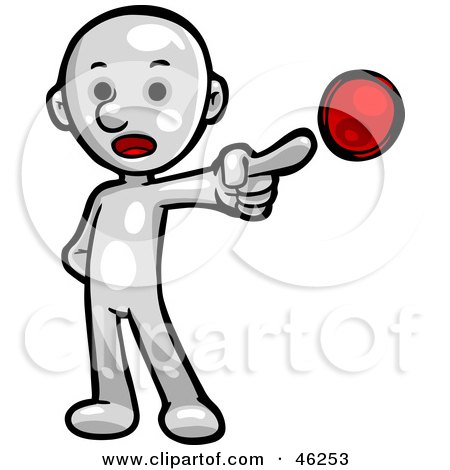 Royalty-Free (RF) Clipart Illustration of a White Smartoon Character Pointing To A Bullet On A List by Tonis Pan