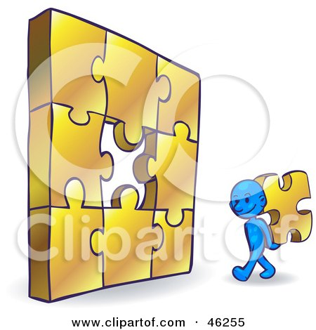 Royalty-Free (RF) Clipart Illustration of a Blue Smartoon Character Completing A Jigzaw Puzzle by Tonis Pan