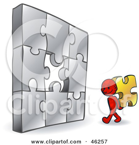 Royalty-Free (RF) Clipart Illustration of a Red Smartoon Character Carrying The Last Piece To A Puzzle by Tonis Pan