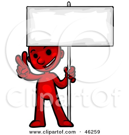 Royalty-Free (RF) Clipart Illustration of a Red Smartoon Character Giving A Peace Gesture And Holding Up A Blank Sign by Tonis Pan
