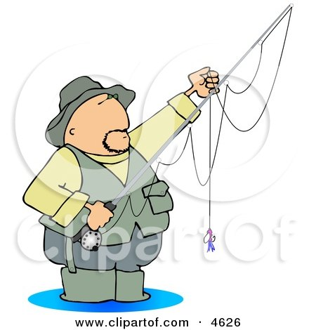 Fly Fisherman Standing in Water with a Baited Hook On a Rod and Reel Clipart by djart