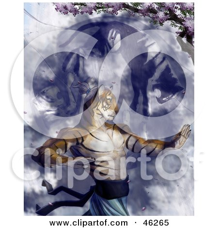 Royalty-Free (RF) Clipart Illustration of a Tiger Martial Arts Master Practicing Under A Blossoming Tree by Tonis Pan