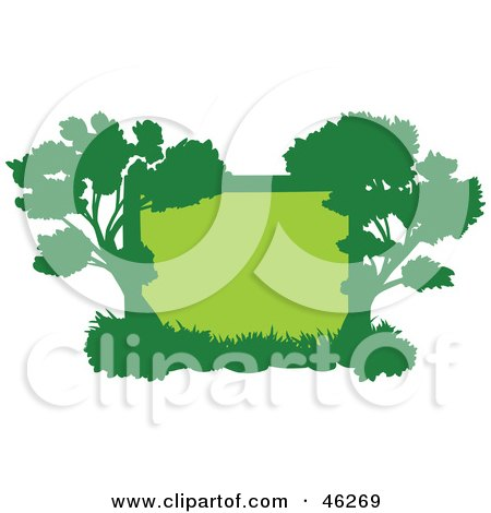 Royalty-Free (RF) Clipart Illustration of a Green Silhouetted Tree Frame by Tonis Pan