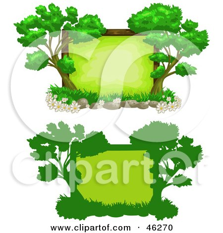 Royalty-Free (RF) Clipart Illustration of Two Tree Text Boxes by Tonis Pan