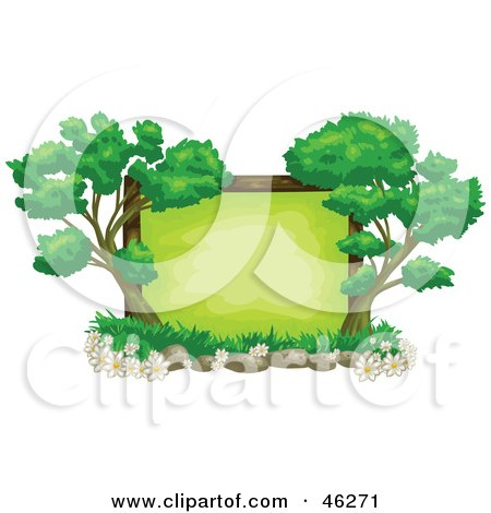 Royalty-Free (RF) Clipart Illustration of a Blank Green Text Box Framed With Flowers, Rocks And Trees by Tonis Pan