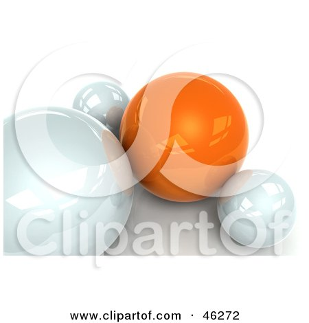 Royalty-Free (RF) Clipart Illustration of a 3d Orange Sphere Resting With White Ones by Tonis Pan