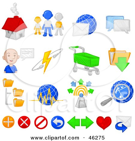 Royalty-Free (RF) Clipart Illustration of a Digital Collage Of Internet, E Commerce And Chatting Icons by Tonis Pan