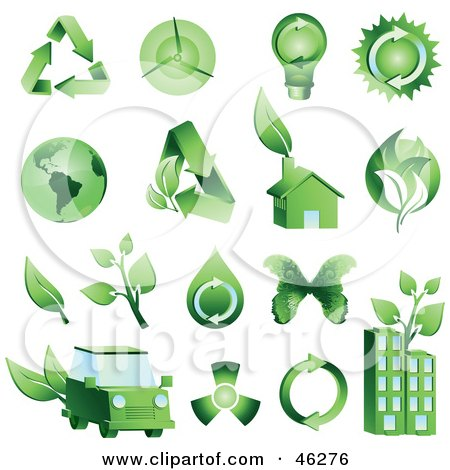 Royalty-Free (RF) Clipart Illustration of a Digital Collage Of Green Energy And Ecology Icons by Tonis Pan